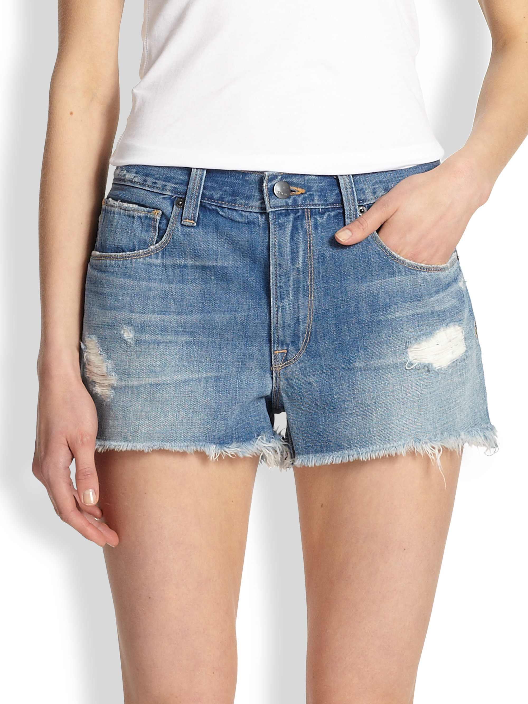 Genetic denim Stevie Cutoff Denim Shorts in Blue | Lyst