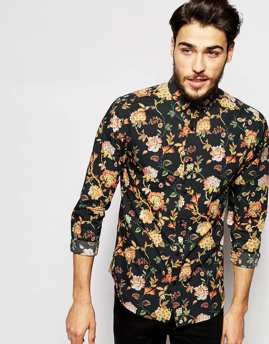 Lyst - Selected Spread Collar Shirt With All Over Floral Print in ...
