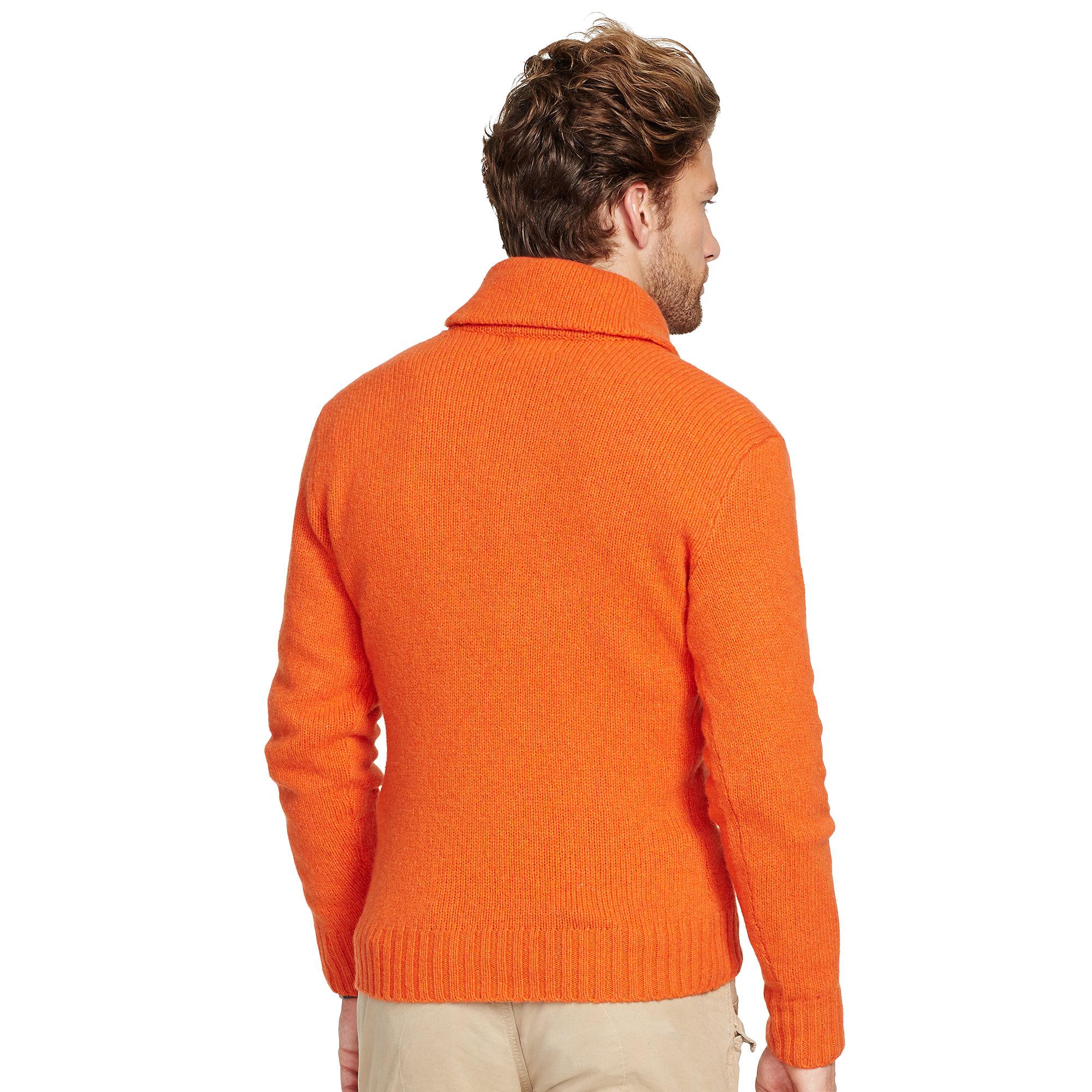 polo ralph lauren shawl pullover sweater in orange for men varsity orange heather lyst. Black Bedroom Furniture Sets. Home Design Ideas