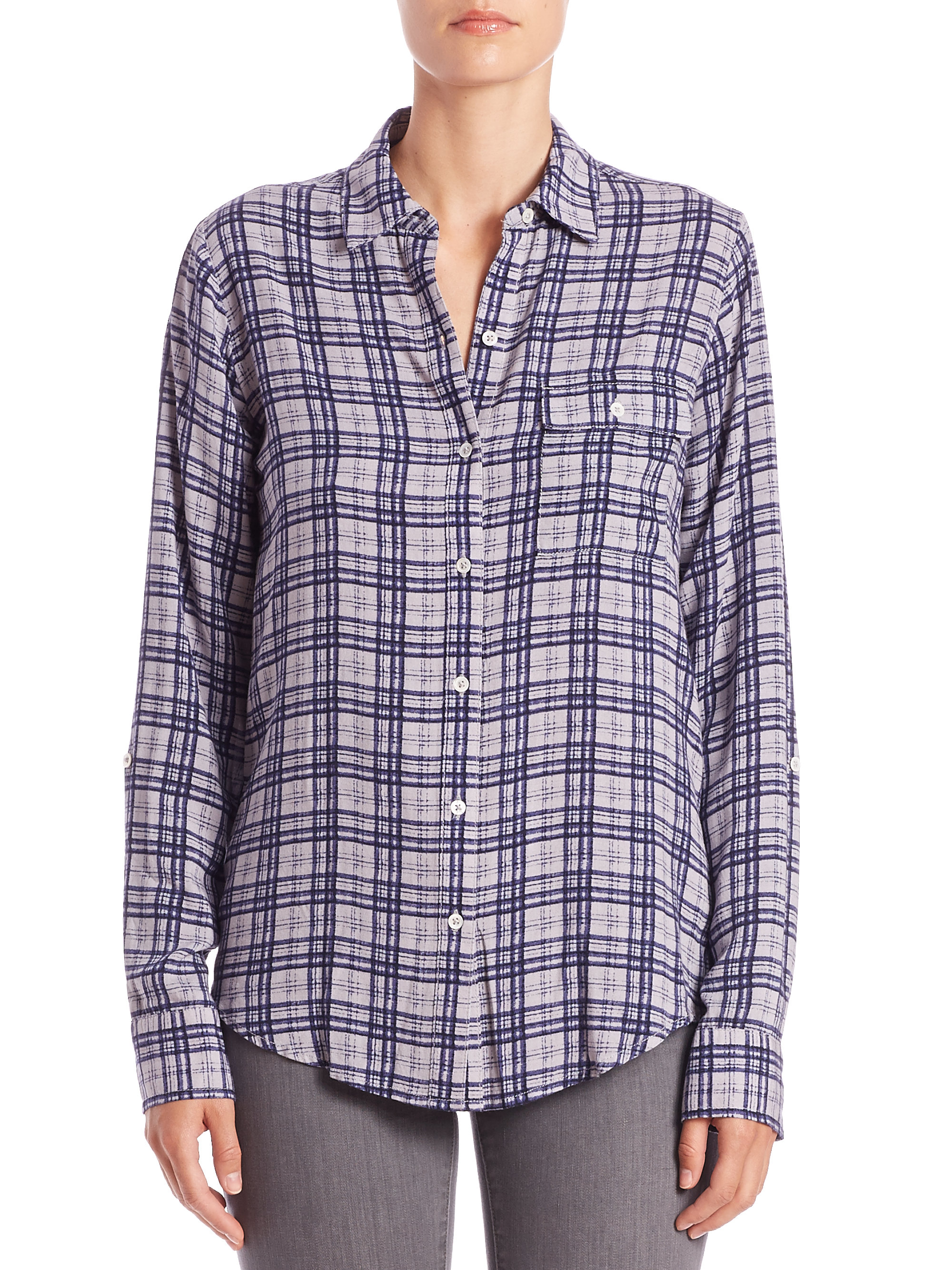 Lyst soft joie onyx plaid shirt in metallic for Soft joie plaid shirt