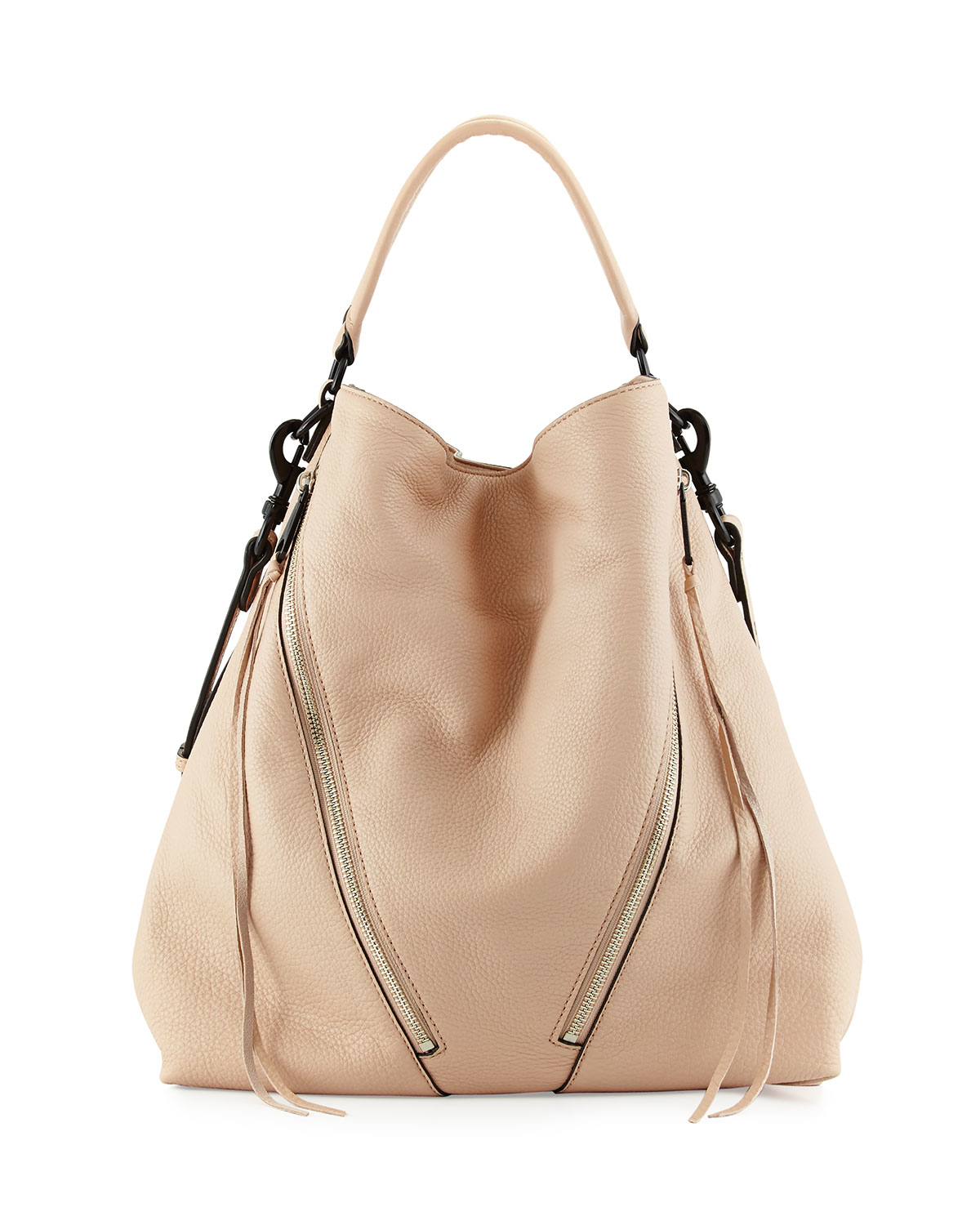 minkoff moto leather hobo bag in beige latte