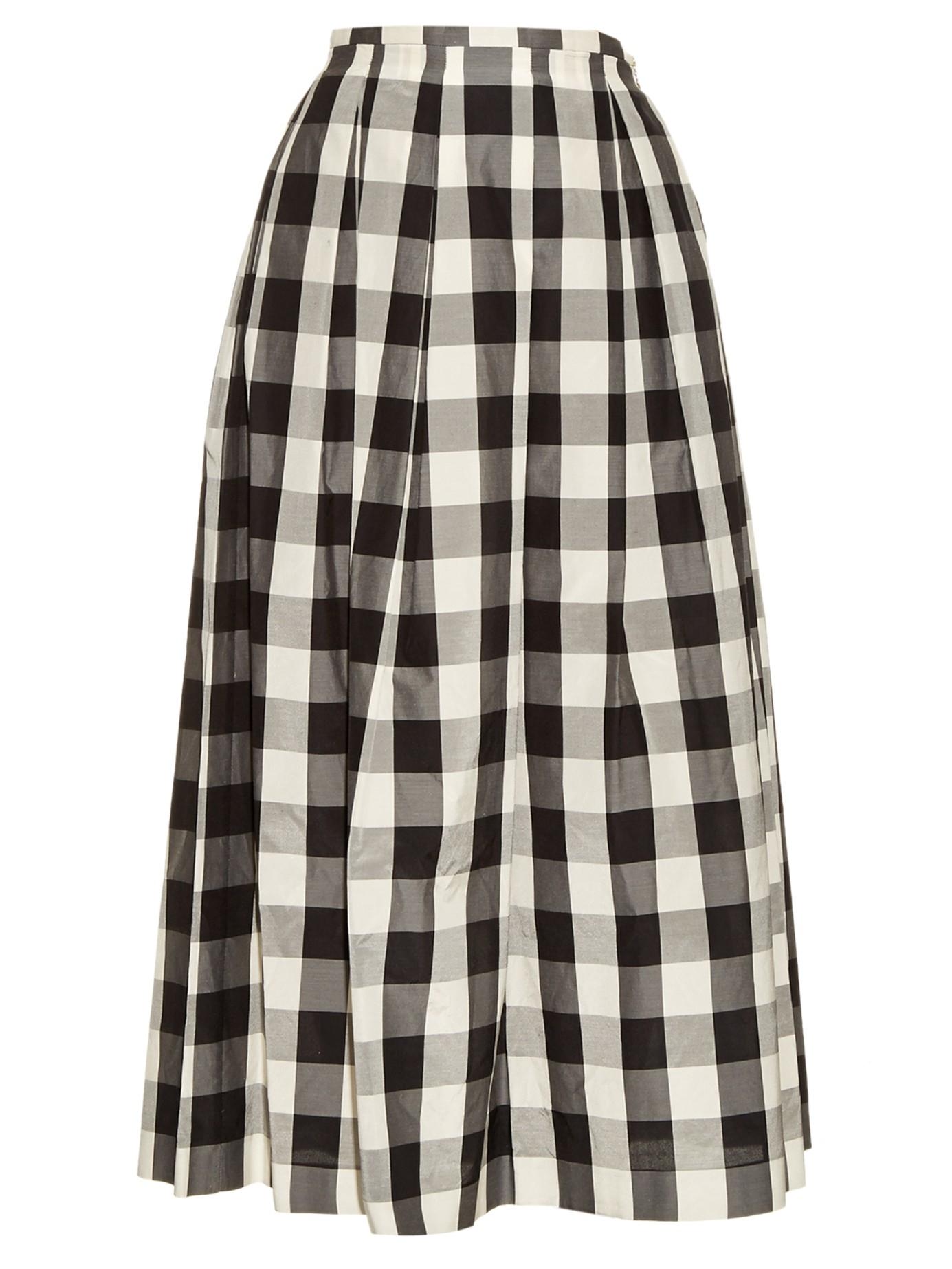 Rochas Gingham Pleated Midi Skirt in Black | Lyst
