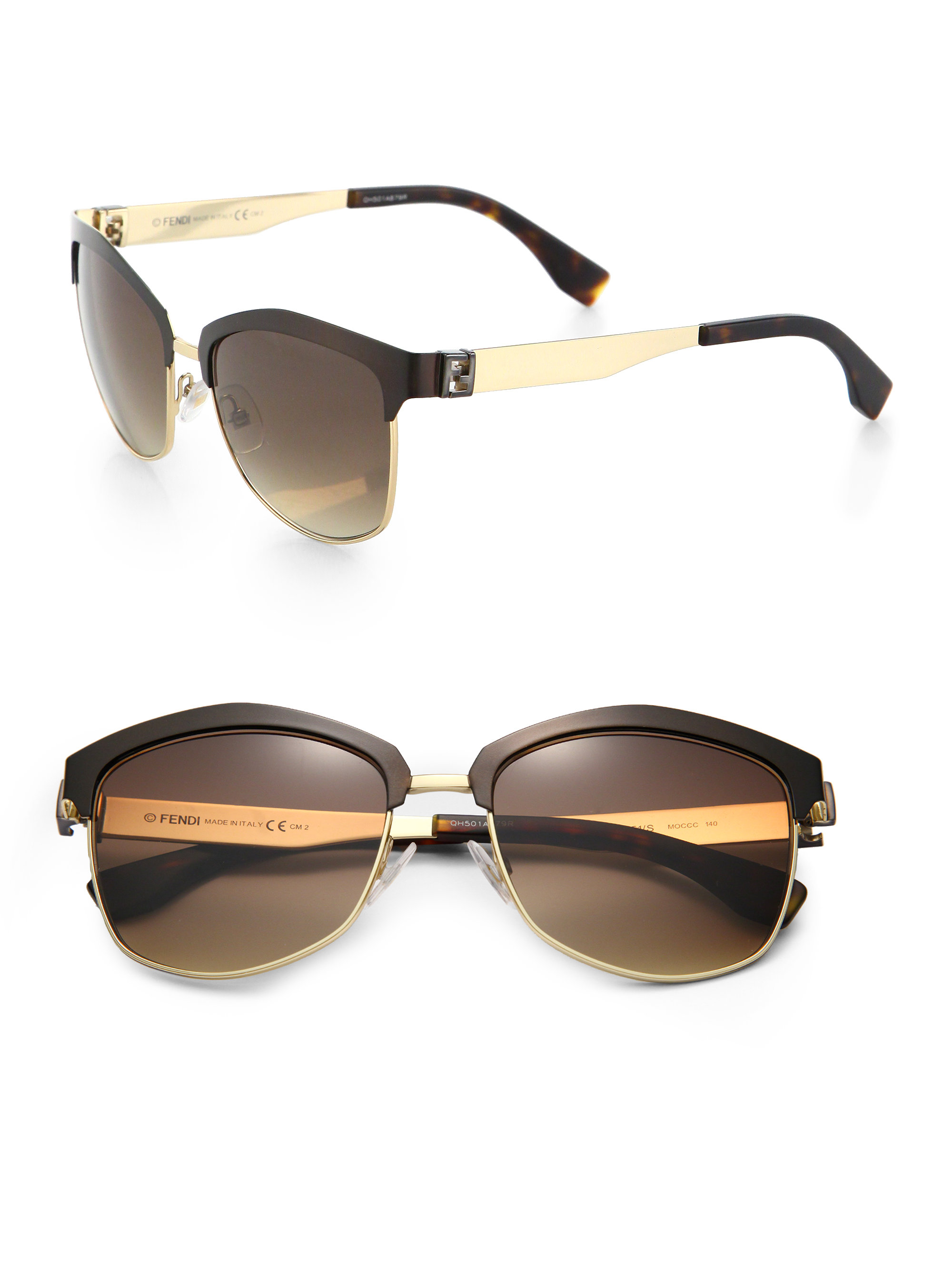 Fendi Aviator Sunglasses in Brown for Men