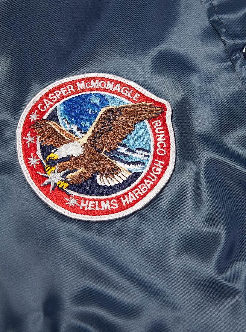 Asw Jackets Nasa Patch Satin Award Jacket in Blue for Men ...