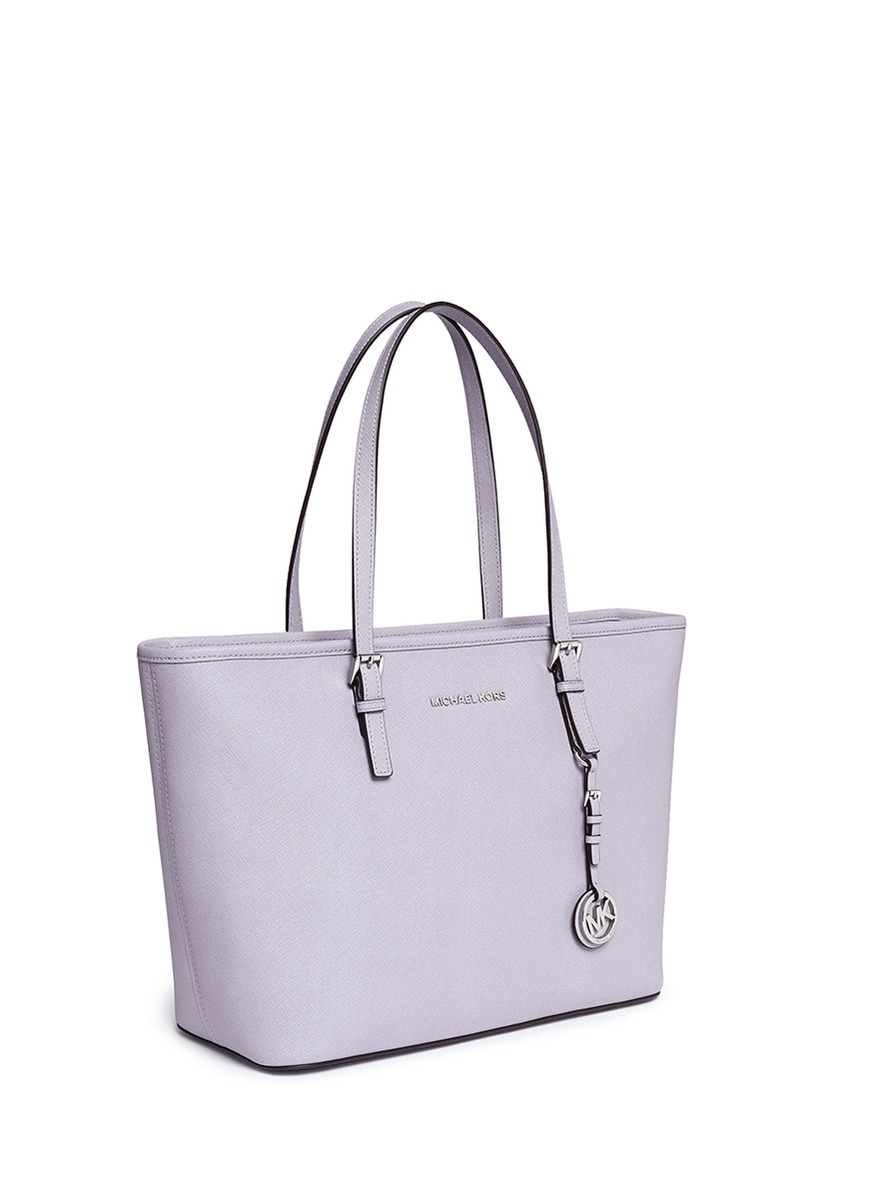 cea2d88b28048a ... promo code for lyst michael kors jet set travel saffiano leather top  zip tote in purple