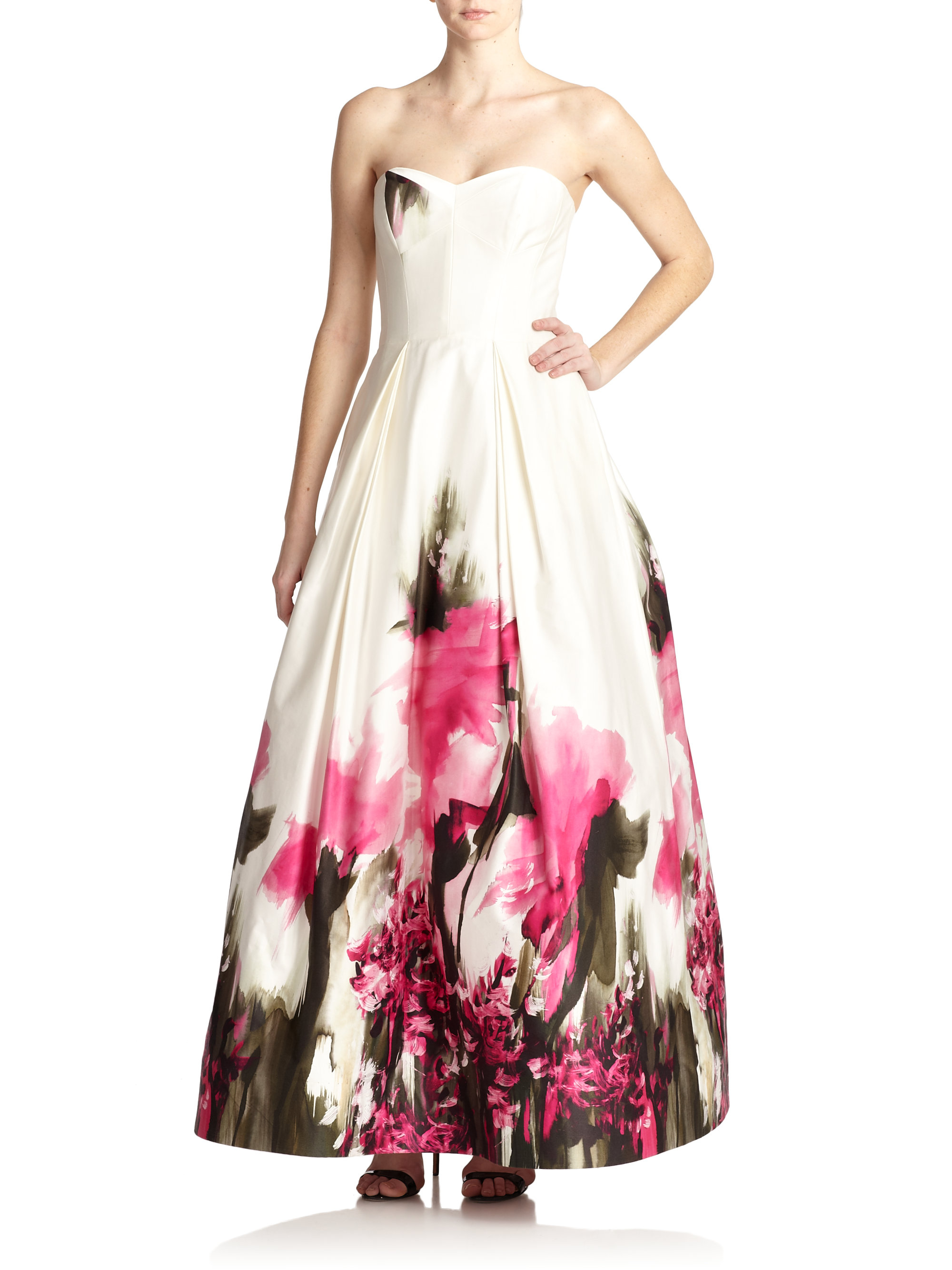 Milly Strapless Floral Gown in Pink | Lyst