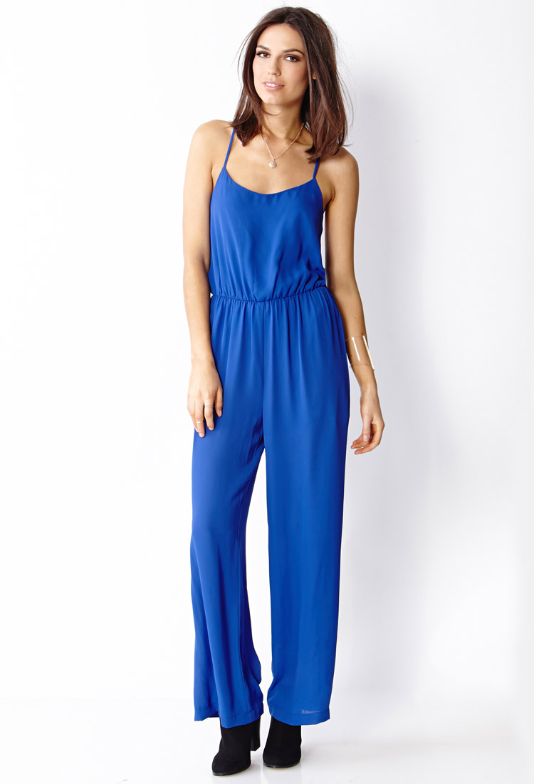 45f51059ae20 Forever 21 Woven Long Jumpsuit in Blue - Lyst