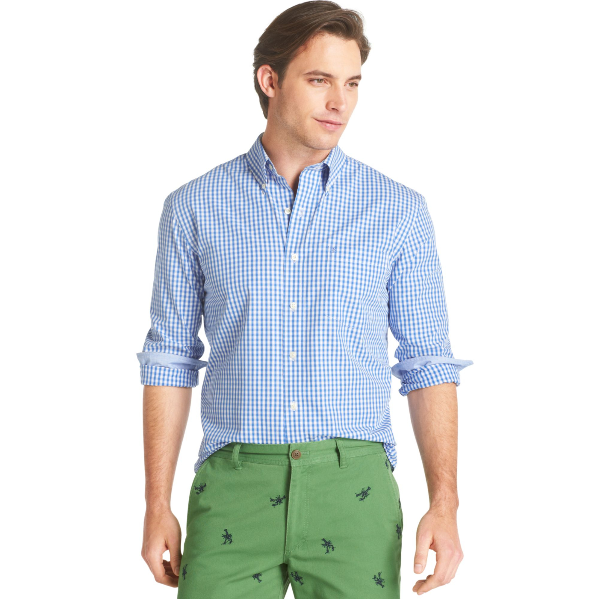 izod big and tall essential shadow gingham shirt in blue