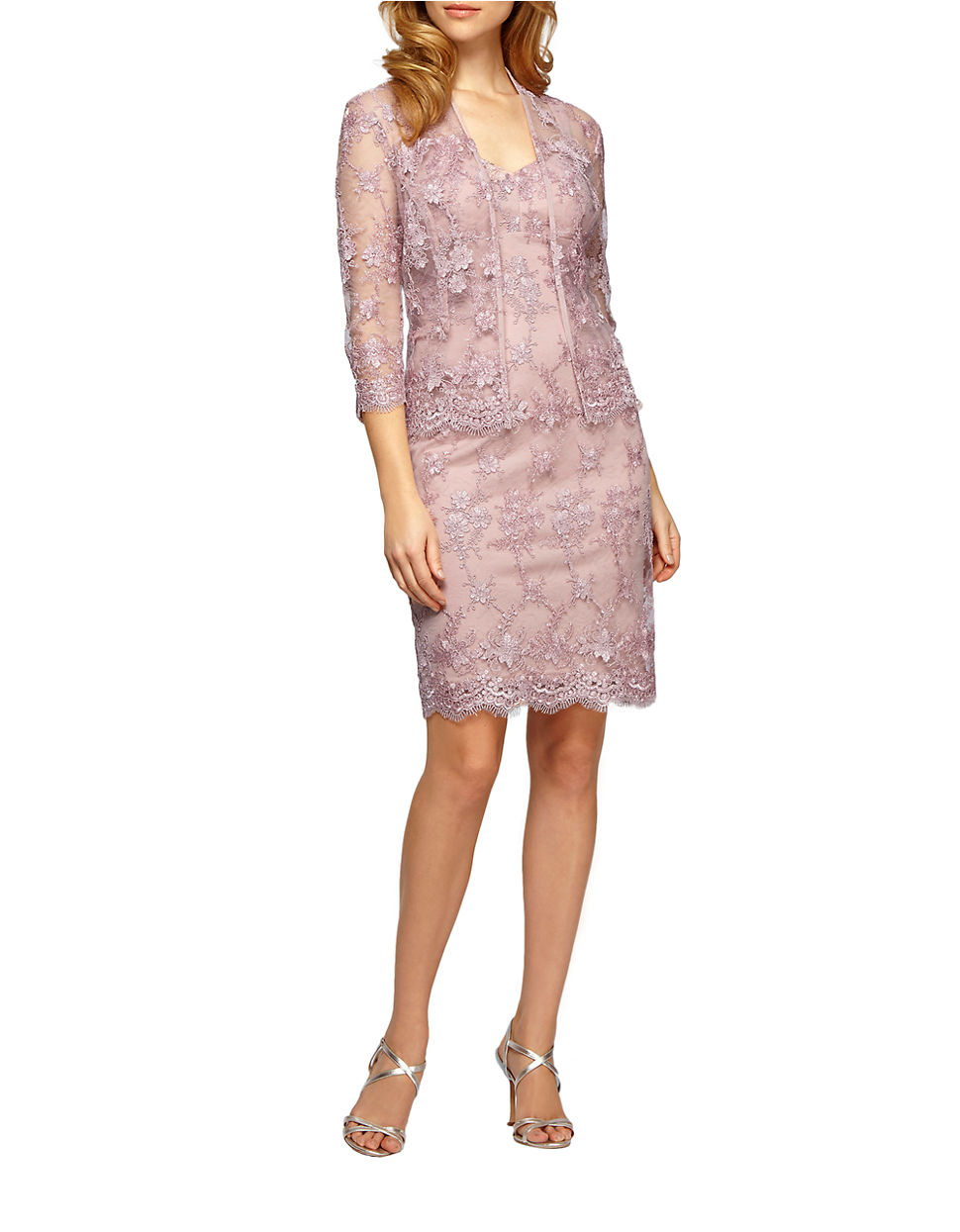 1ecdd6f3a49ef Alex Evenings Two-piece Lace Sheath Dress And Jacket Set in Pink - Lyst