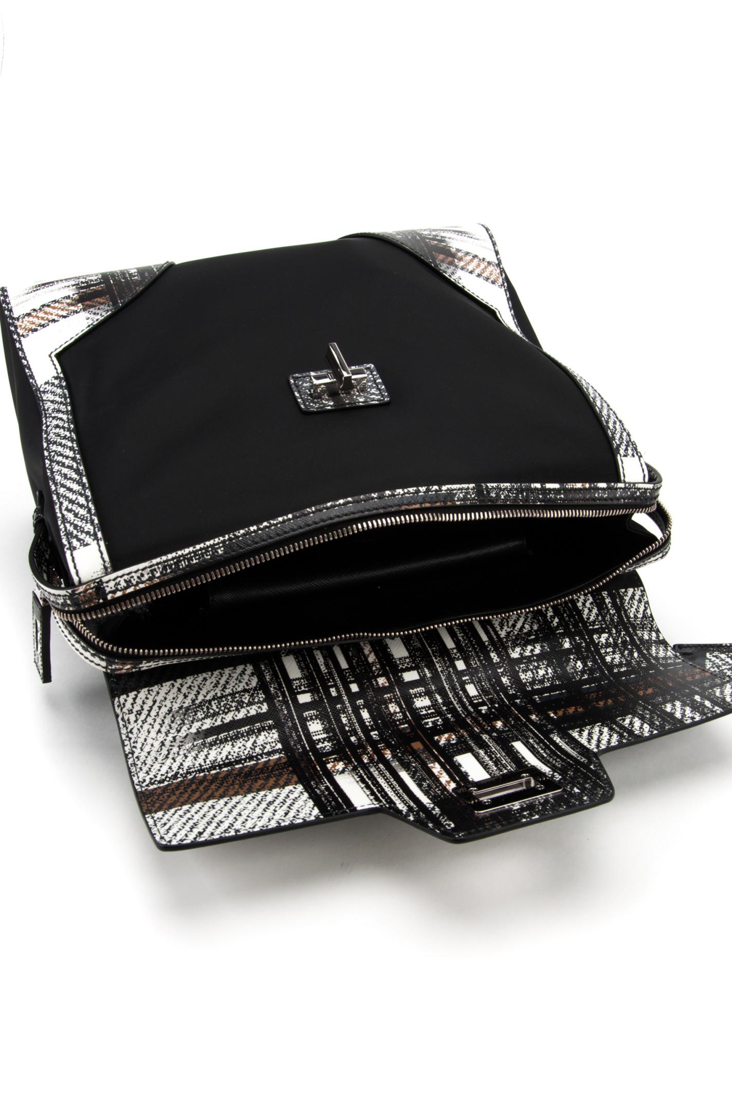Prada Nylon And Saffiano Bag in Silver (BIANCO DIS. TARTAN) | Lyst