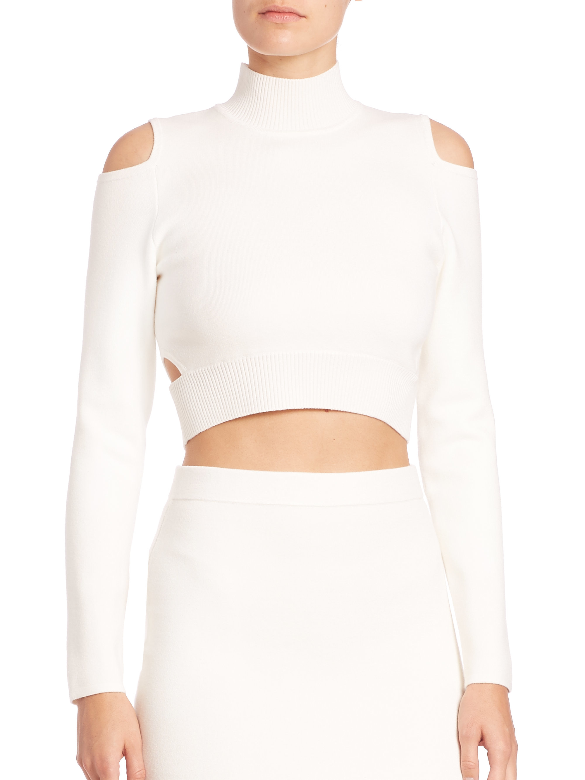 Lyst - Jonathan Simkhai Cutout Cropped Turtleneck Sweater in White 6bdb3cbb8