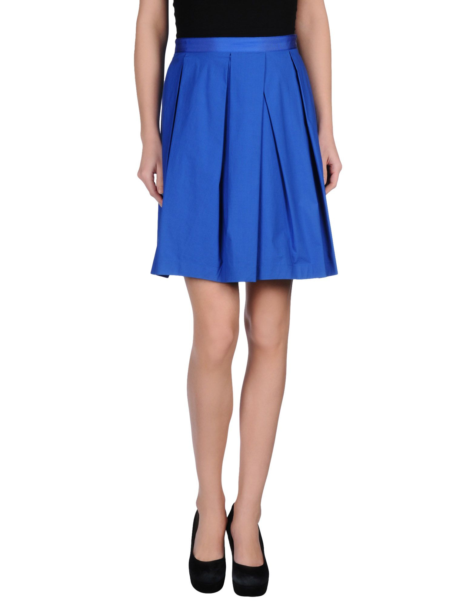 blue les copains knee length skirt in blue save 57 lyst