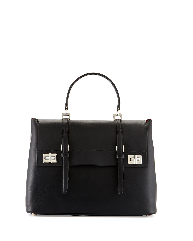 78e2253977 Prada Lux Calf Large Flap Satchel Bag in Black - Lyst