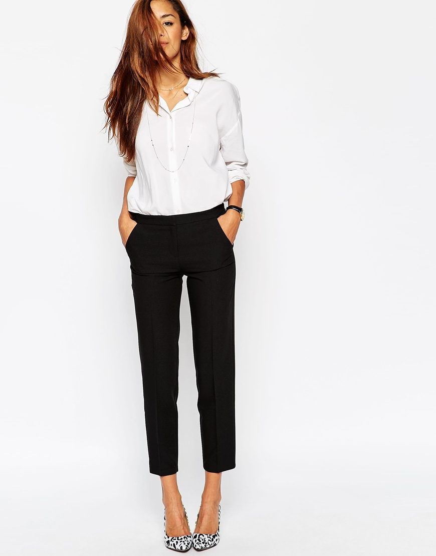 Asos Ankle Grazer Cigarette Trousers In Crepe In Black | Lyst