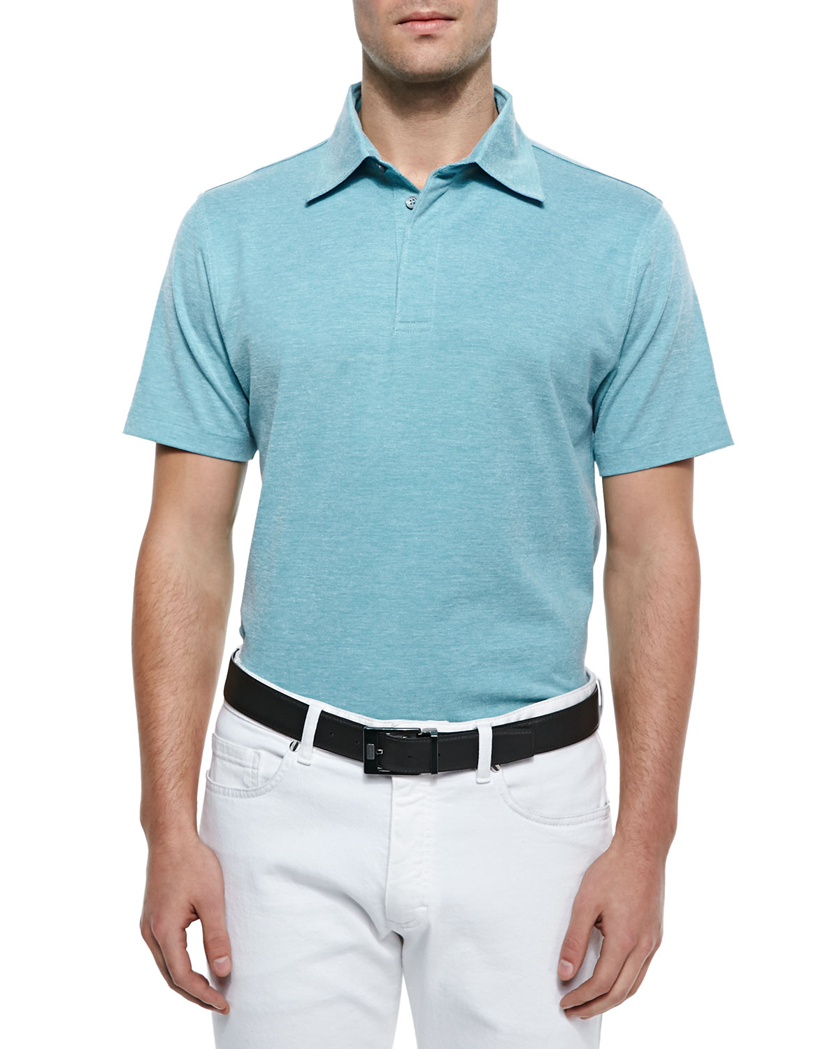 Lyst ermenegildo zegna spread collar polo shirt in blue for Men s spread collar shirts