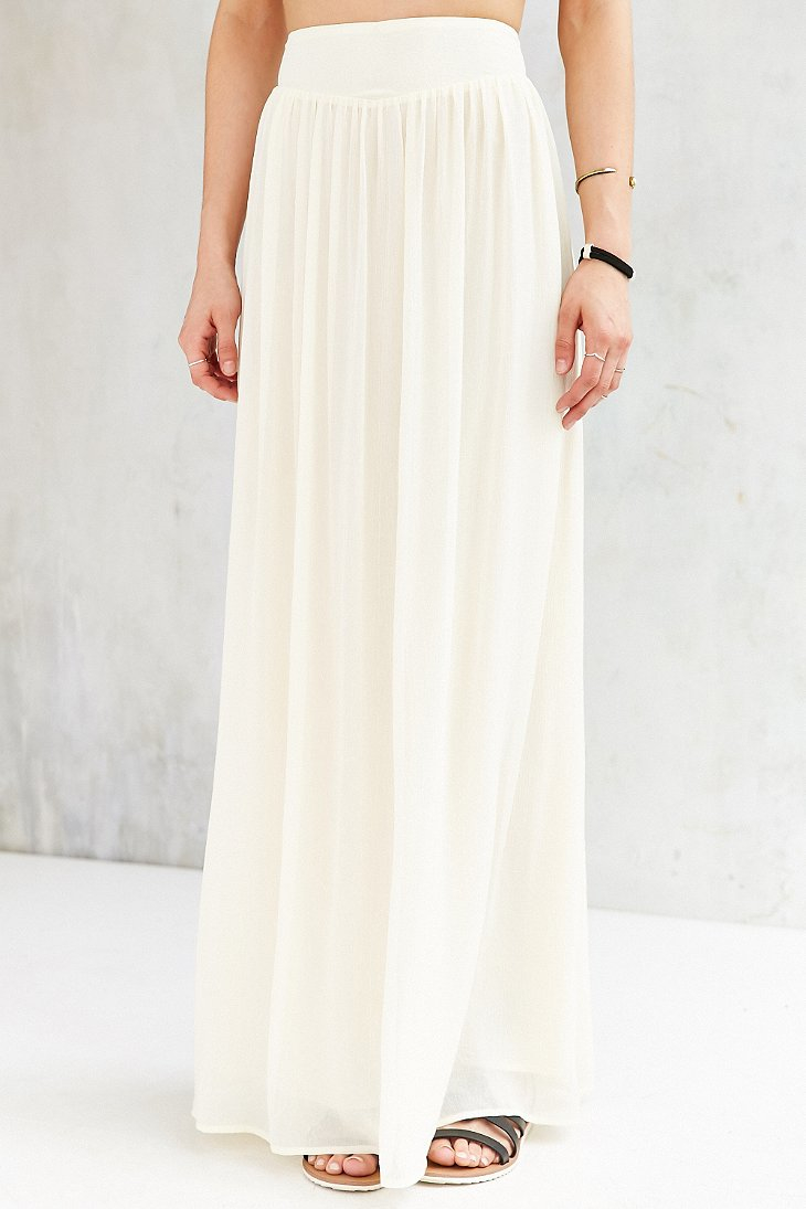 pins and needles yoke chiffon maxi skirt in white lyst