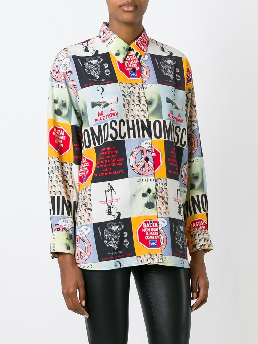 moschino photography print shirt in white lyst
