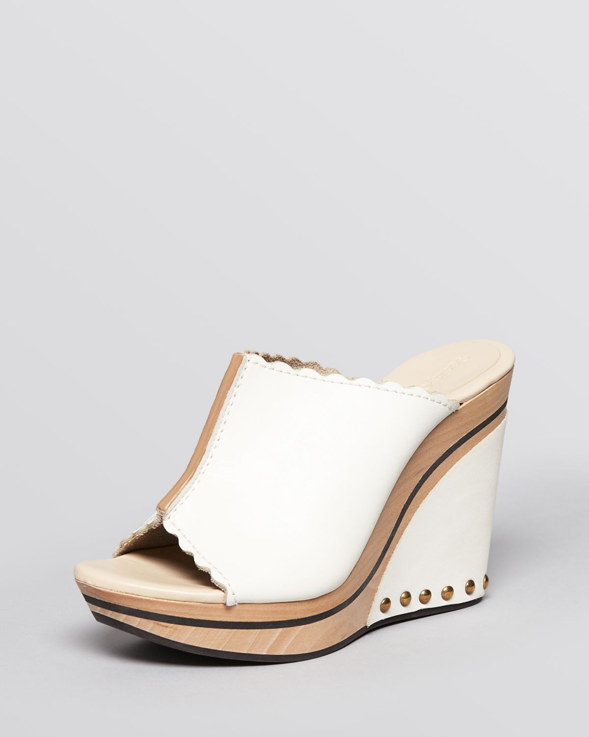 White Wooden Wedge Shoes