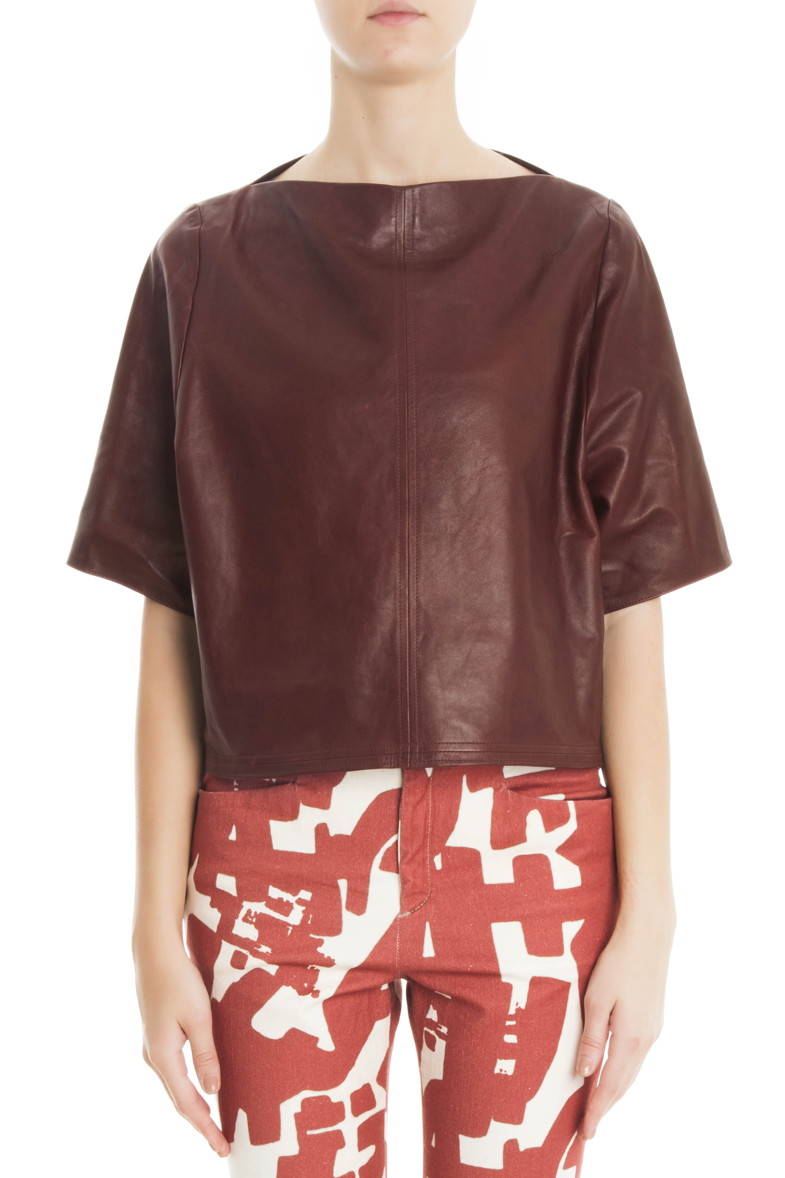 4a554d5f761 Isabel Marant Feza Leather Top in Red - Lyst
