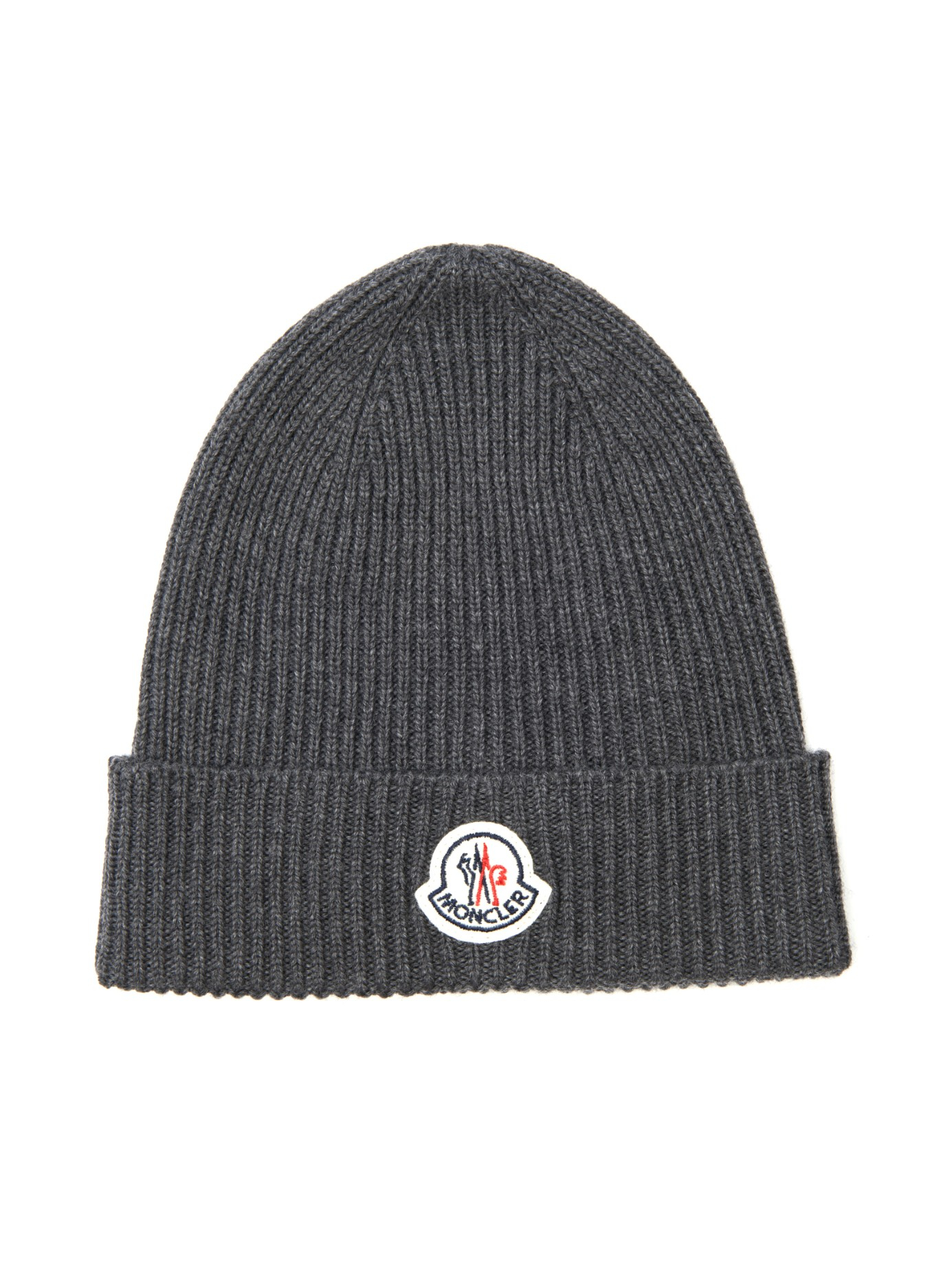 fe085581092 Moncler Ribbed-Knit Wool Beanie Hat in Gray for Men - Lyst