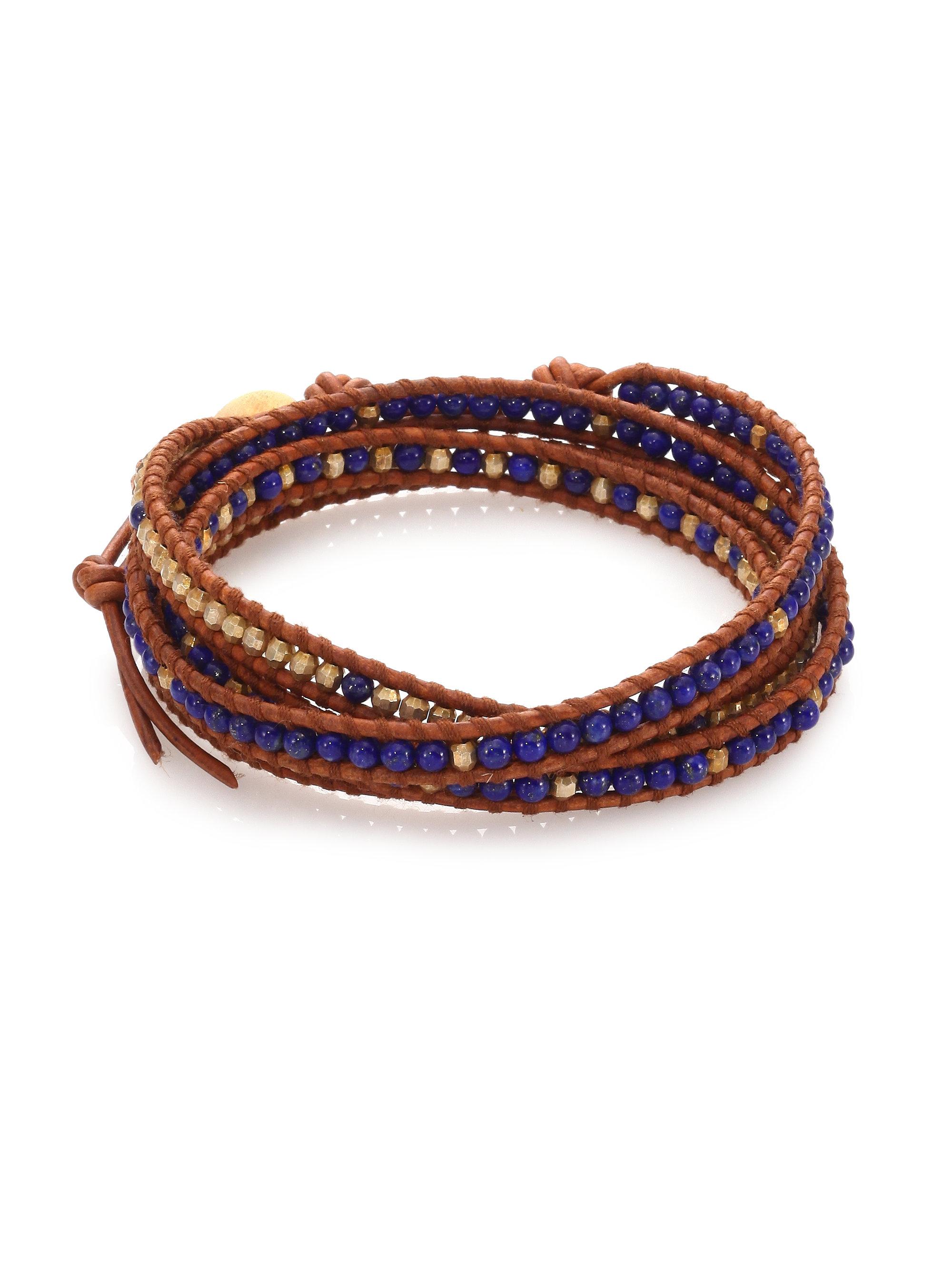 chan luu lapis leather multi row beaded wrap bracelet in