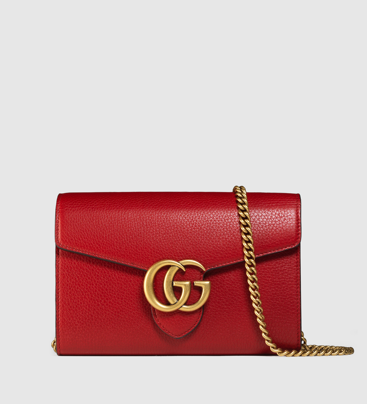44451e2eff5 Lyst - Gucci Gg Marmont Leather Chain Wallet in Red
