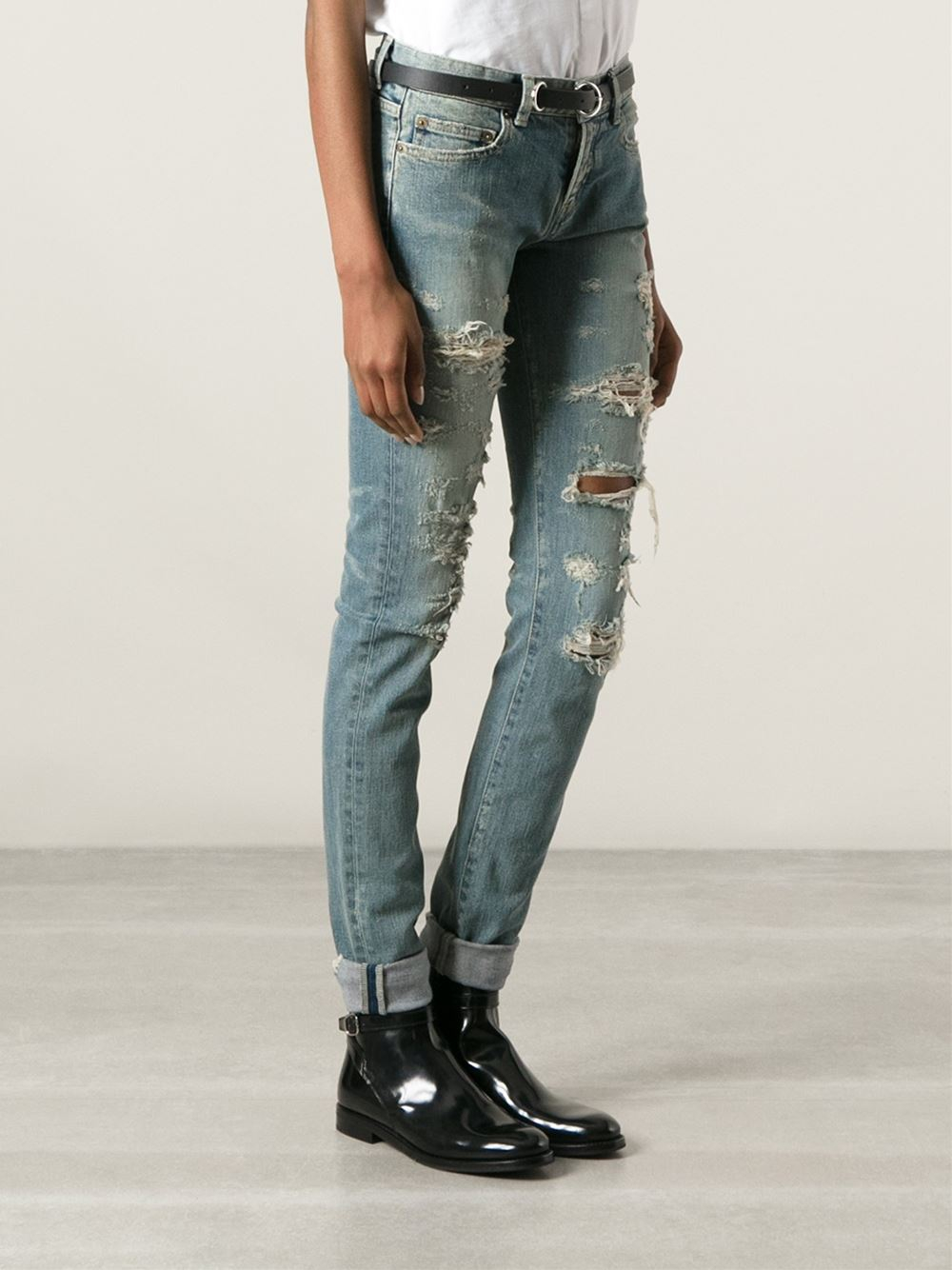lyst saint laurent ripped skinny jeans in blue. Black Bedroom Furniture Sets. Home Design Ideas