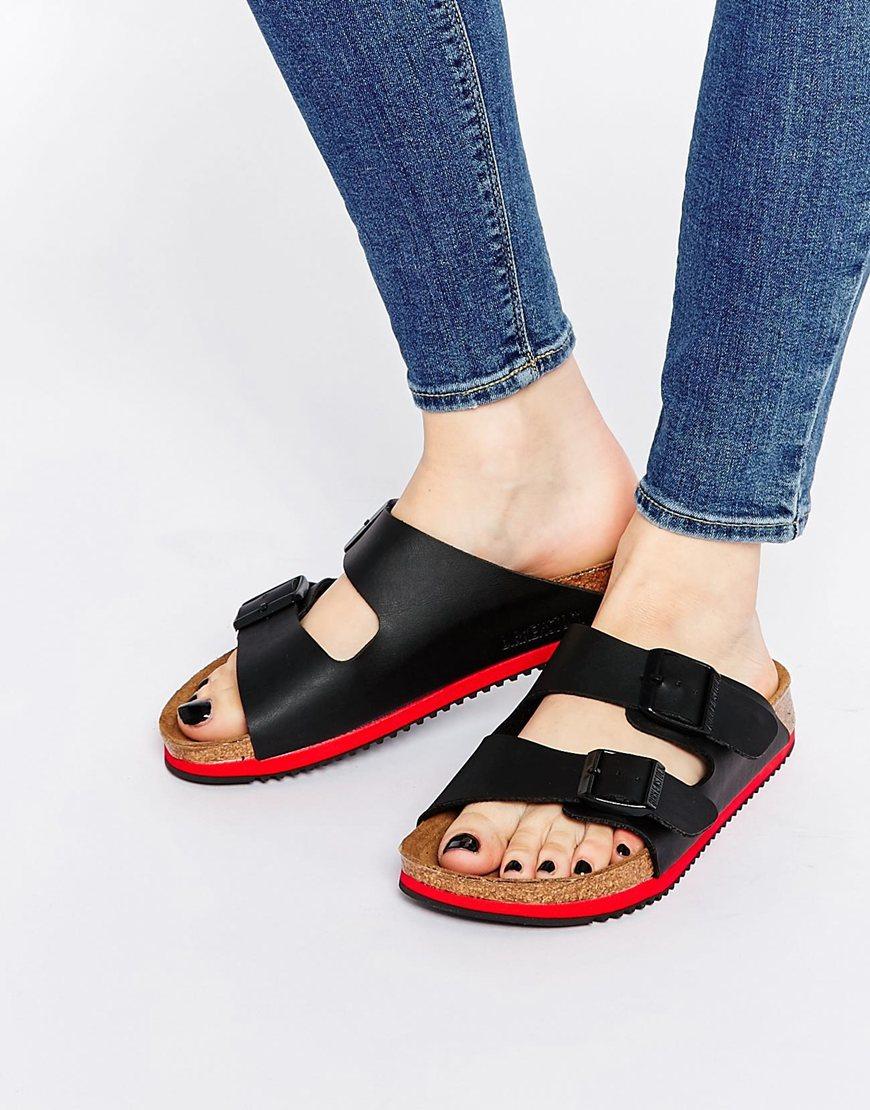 b6cb6d012718 Lyst - Birkenstock Arizona Sl Birko Flor Black Slider Flat Sandals ...