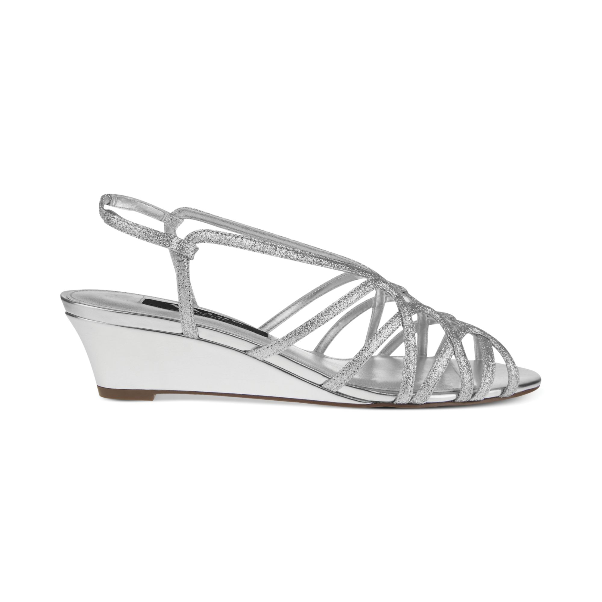 fabiana evening wedge sandals in silver lyst