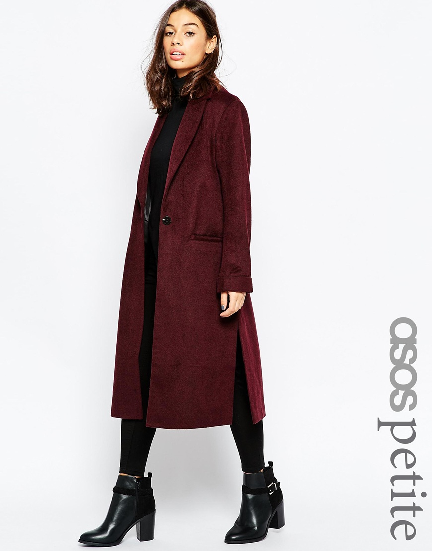 Asos Petite Coat In Relaxed Fit in Purple | Lyst