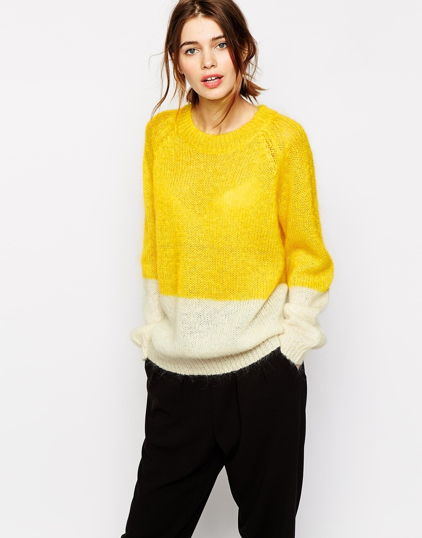 Baum und pferdgarten Callisto Sweater In Color Block in Yellow | Lyst