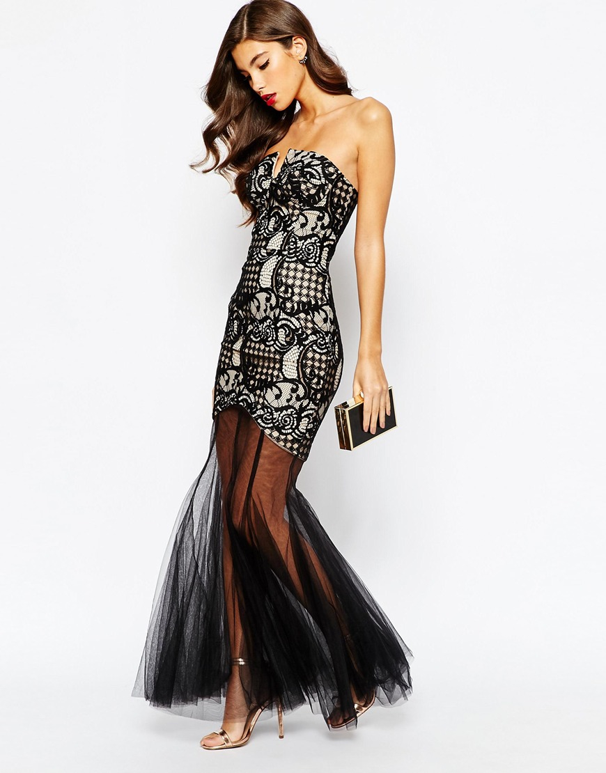 86d1280414a Jarlo Elsa Bandeau Lace Maxi Dress With Mesh Fishtail in Black - Lyst