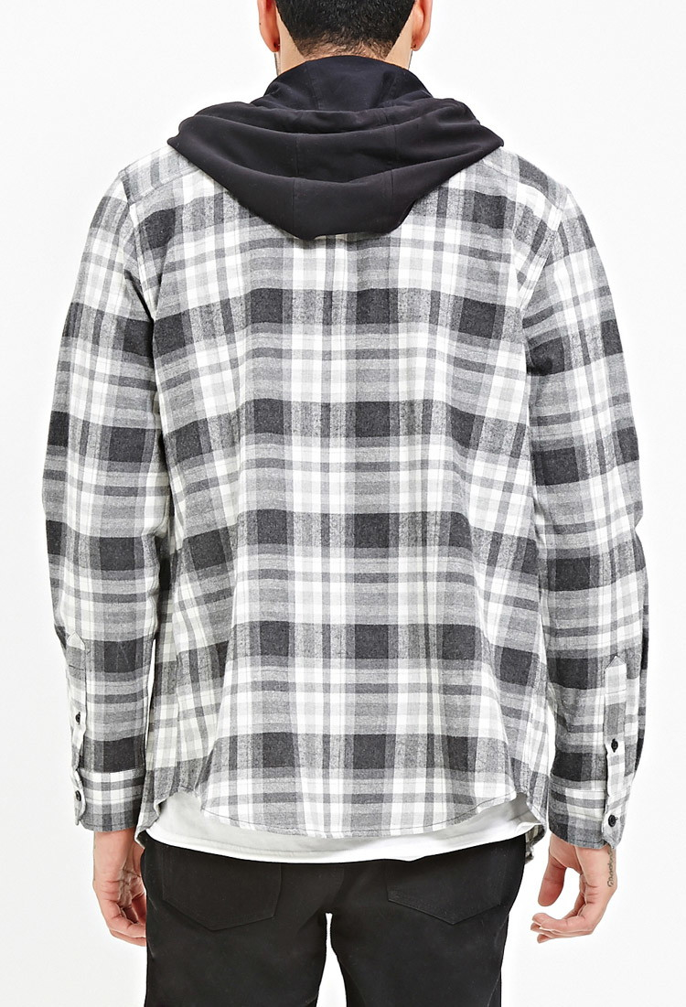 Product Features Tabs to hold rolled up sleeve and hem, button front classic plaid shirt.