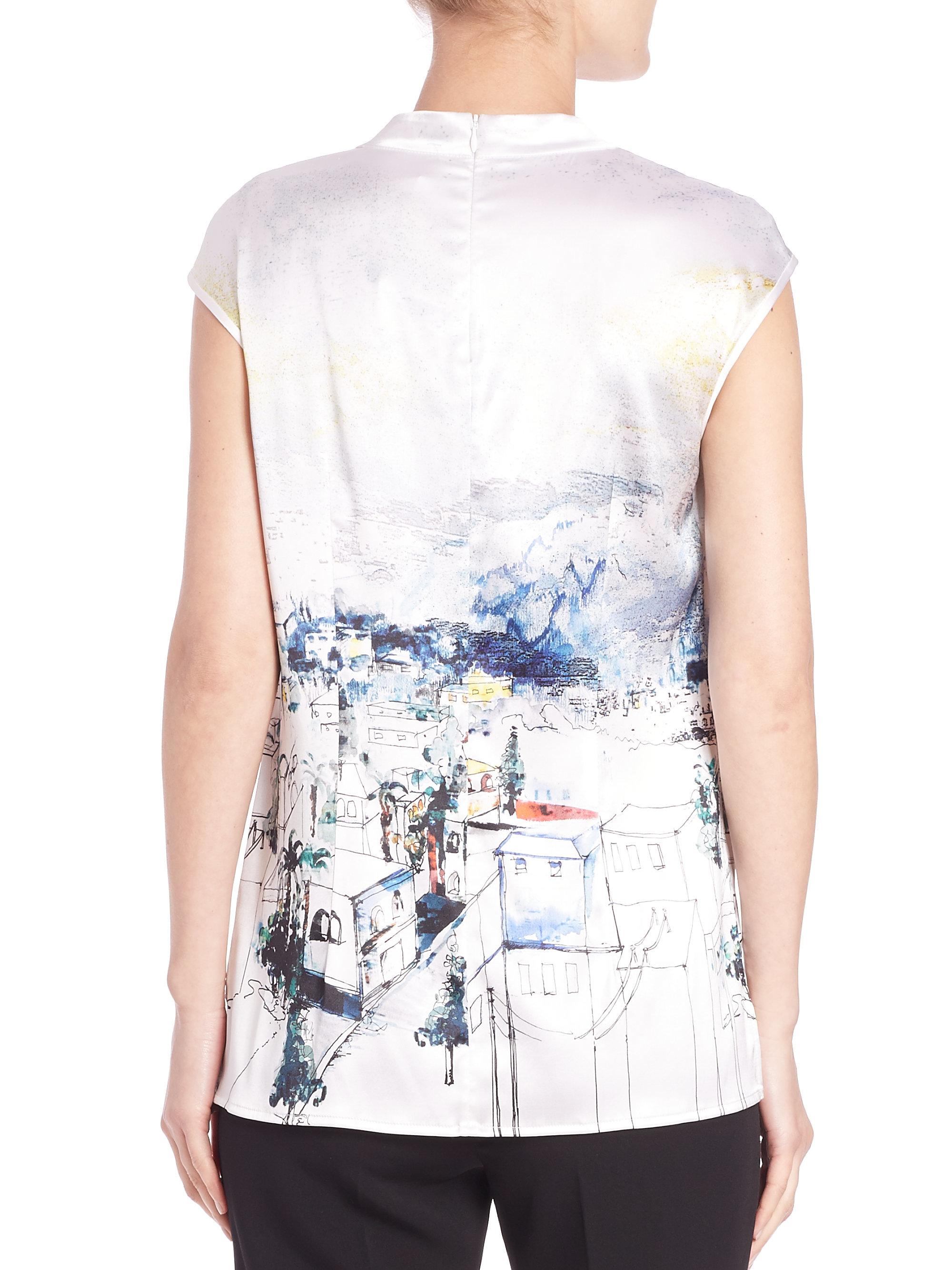 Lyst St John Amalfi Vista Print Stretch Silk Blouse In White