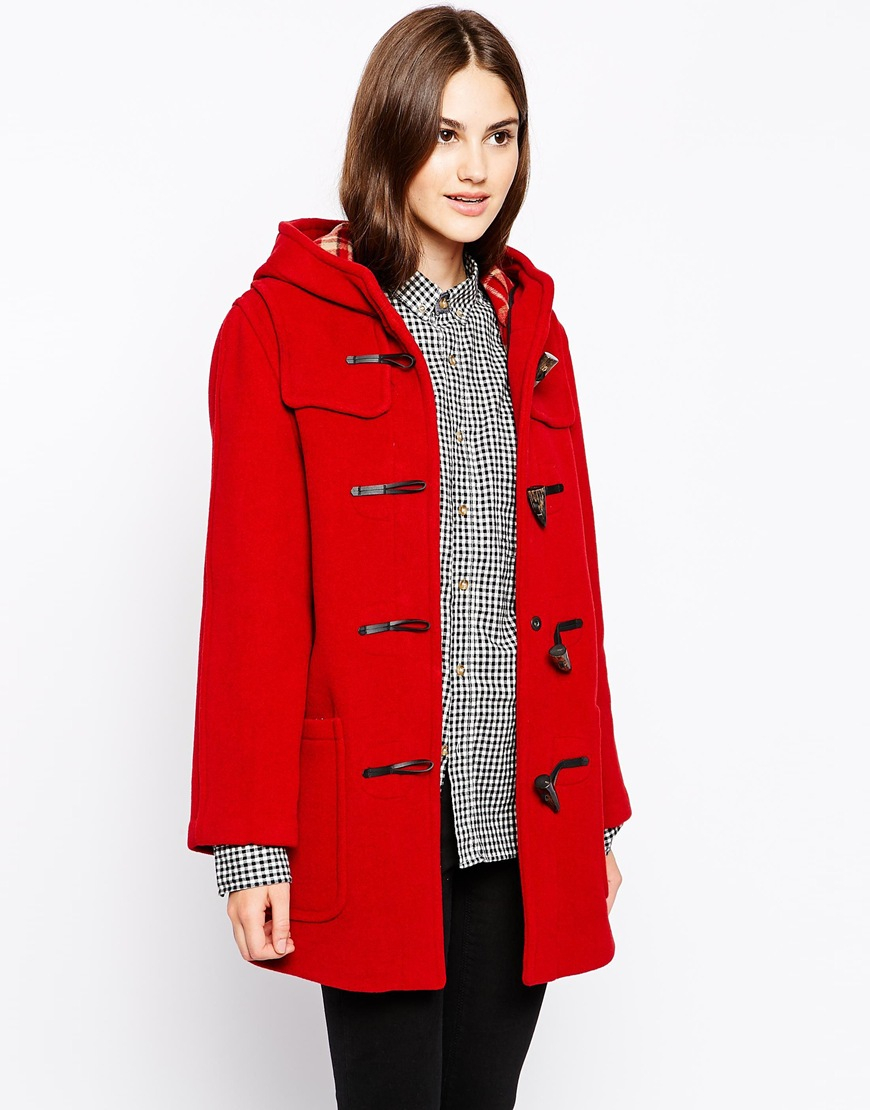 Gloverall Longline Hooded Duffle Coat in Red for Men   Lyst