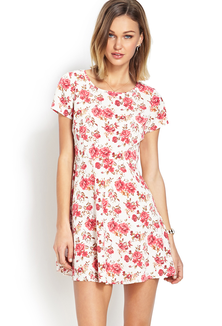 forever 21 darling cut out floral dress in pink cream
