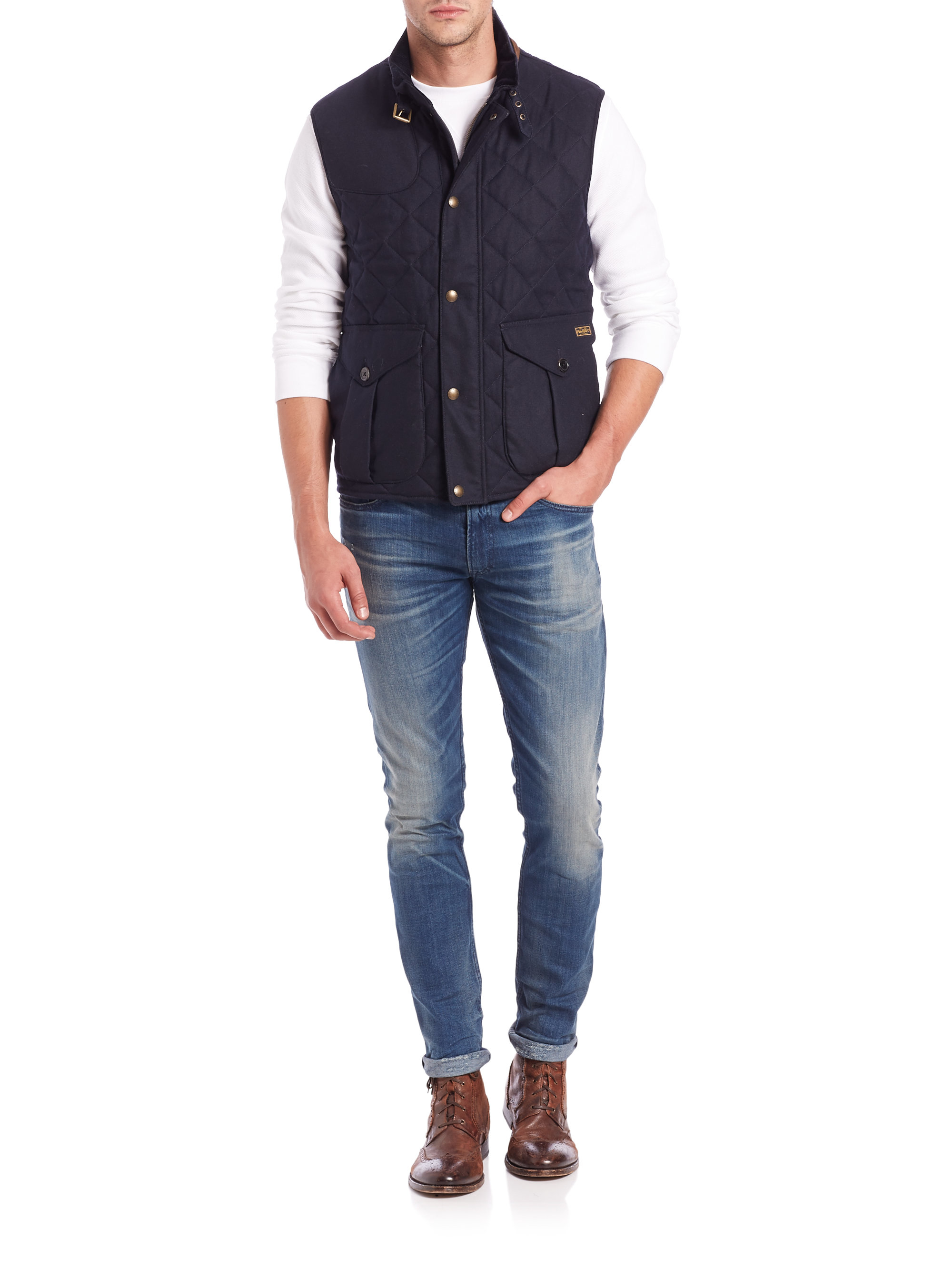 Polo ralph lauren Quilted Puffer Vest in Blue for Men | Lyst : ralph lauren quilted vest mens - Adamdwight.com