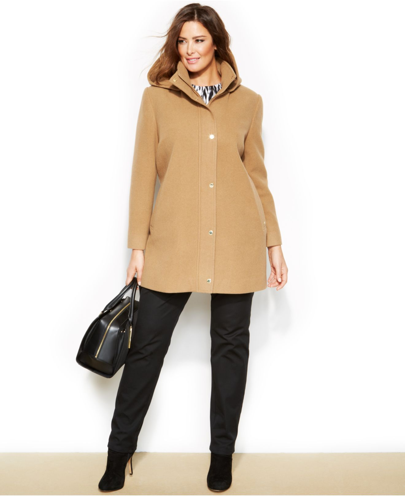 Ellen tracy Plus Size Wool-Blend Hooded Car Coat in Natural | Lyst