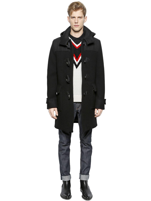 Givenchy Hooded Wool Felt Duffle Coat in Black   Lyst