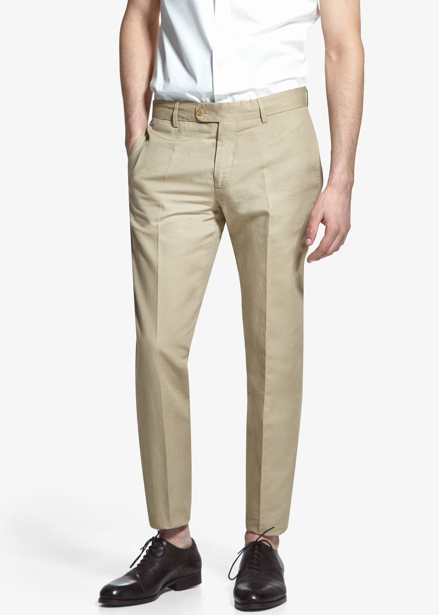 Mango Suit Linen Trousers In Natural For Men Lyst