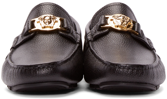 d2bfab1305e Lyst - Versace Black Leather Medusa Loafers in Black for Men