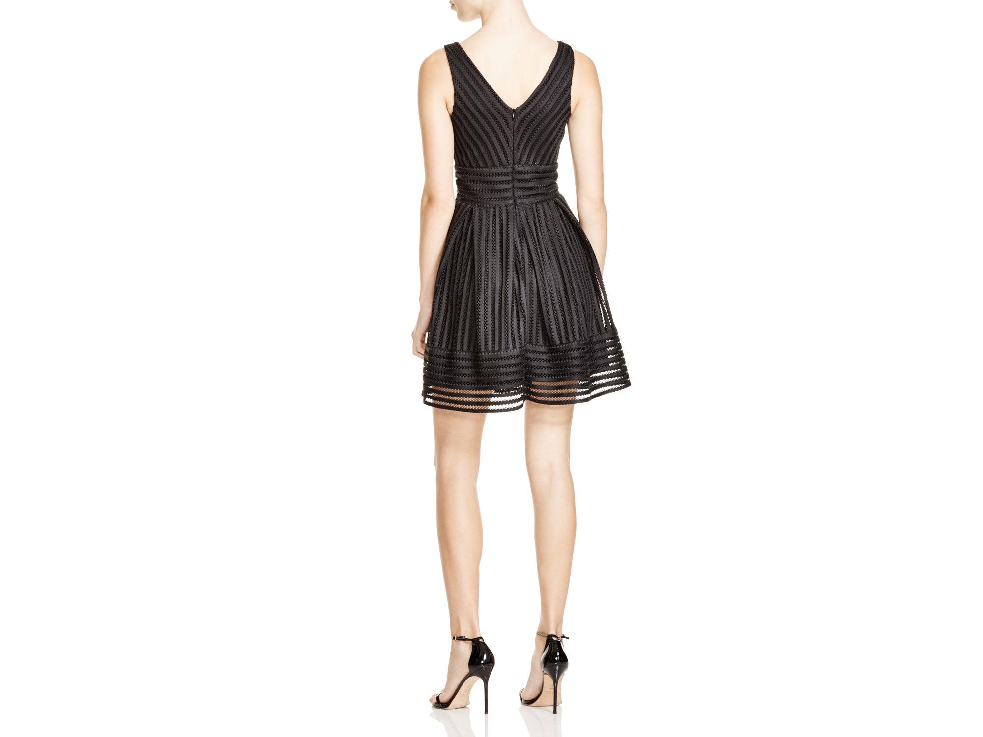 794eb89fb89 Aqua Mesh Neoprene Stripe Dress in Black - Lyst