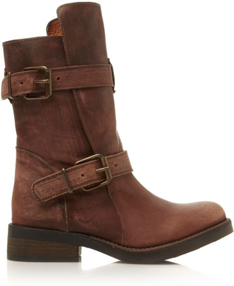steve madden caveat detail boots in brown lyst