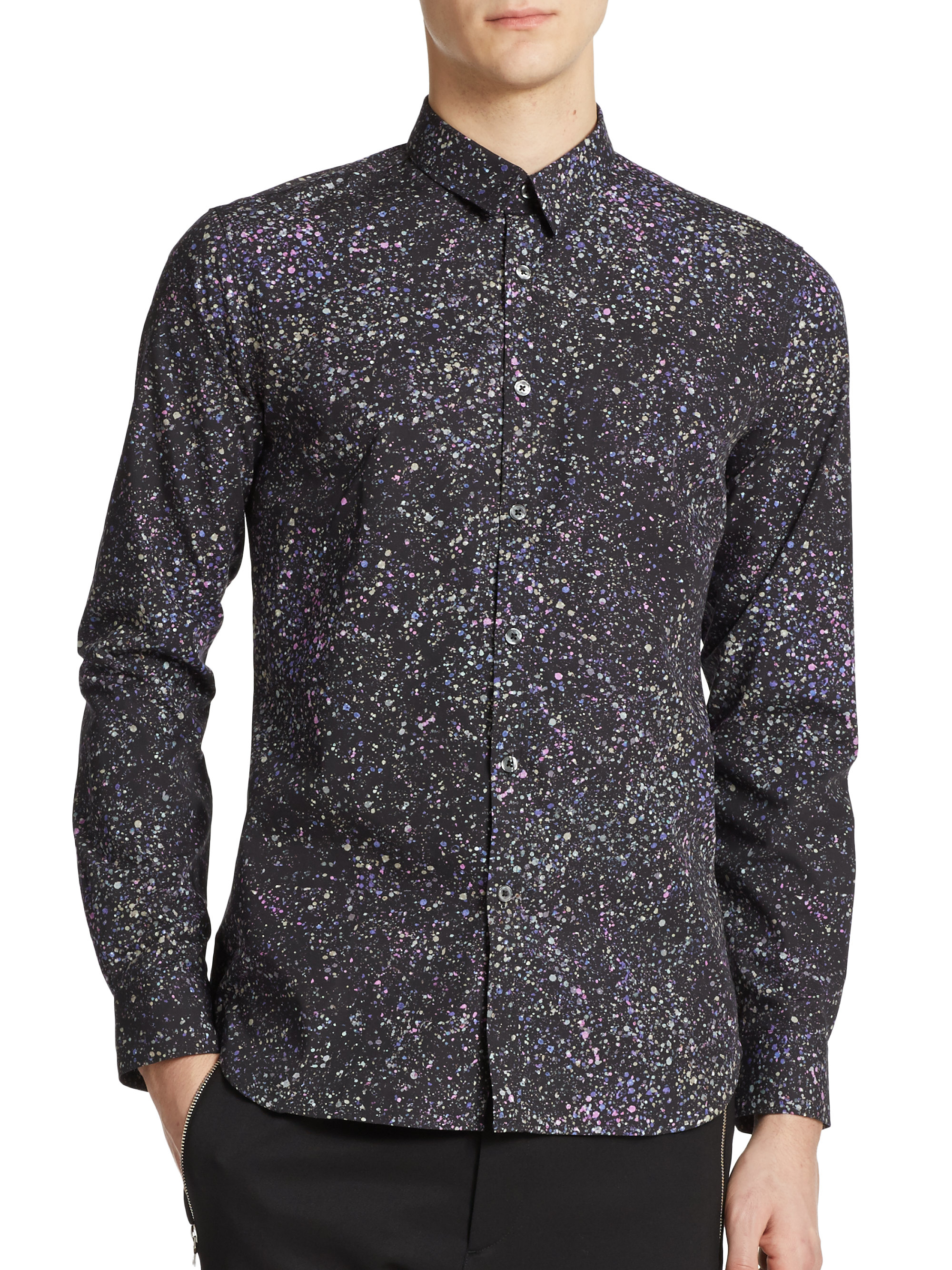 Ps by paul smith Galaxy Print Button-down Shirt in Gray for Men | Lyst