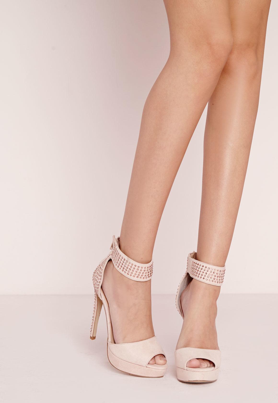 b6705fdf918f5c Lyst - Missguided Embellished Platform Heeled Sandals Blush in Pink