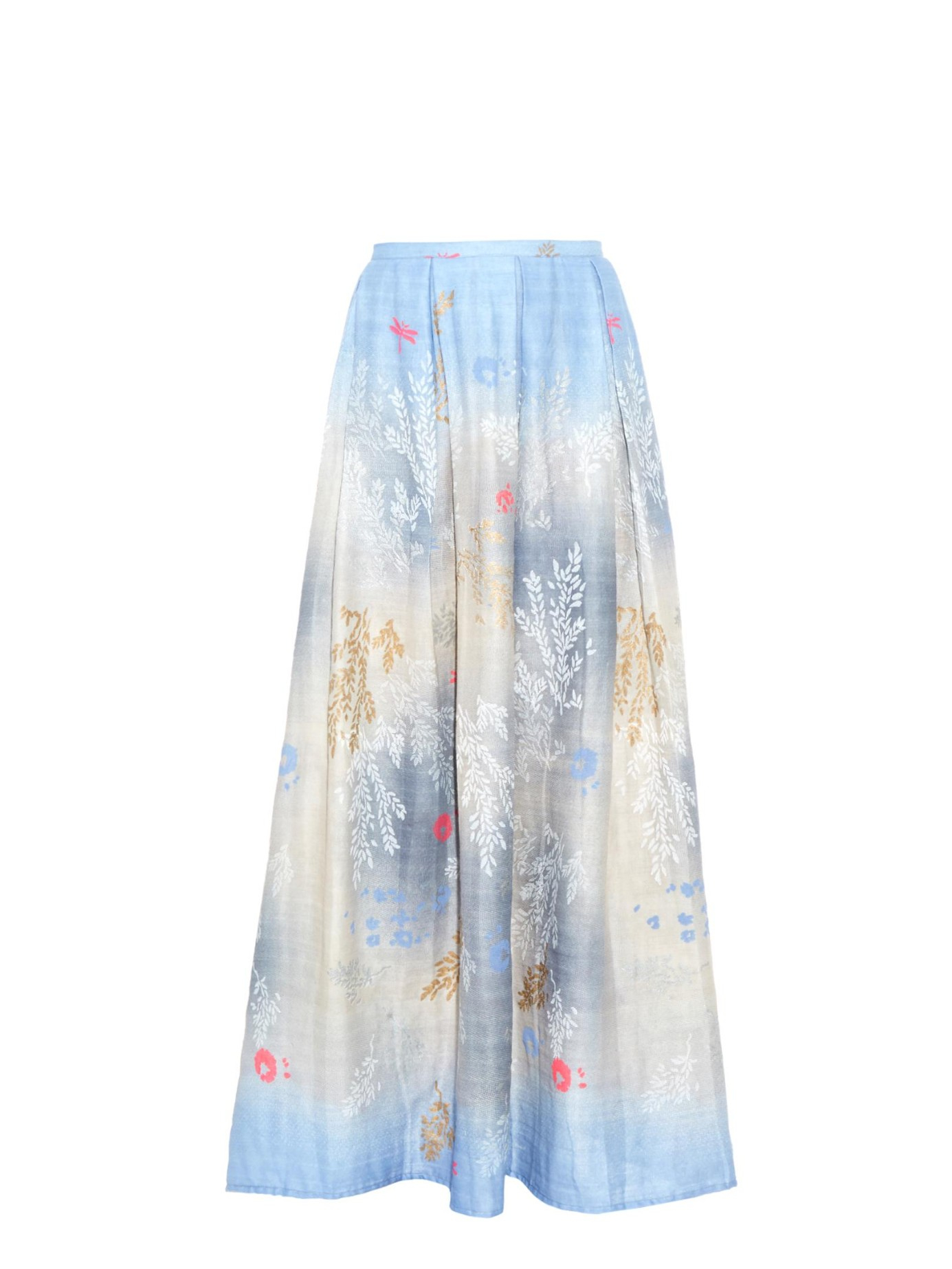 thierry colson odette printed cotton maxi skirt in blue lyst