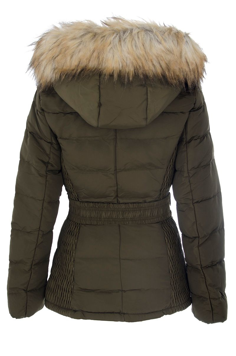 Quiz Khaki Padded Faux Fur Hood Jacket in Green | Lyst