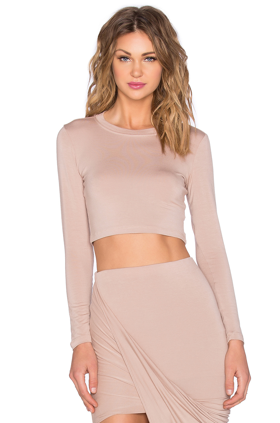 bf682531922 Blq Basiq X Revolve Exclusive Long Sleeve Crop Top in Natural - Lyst