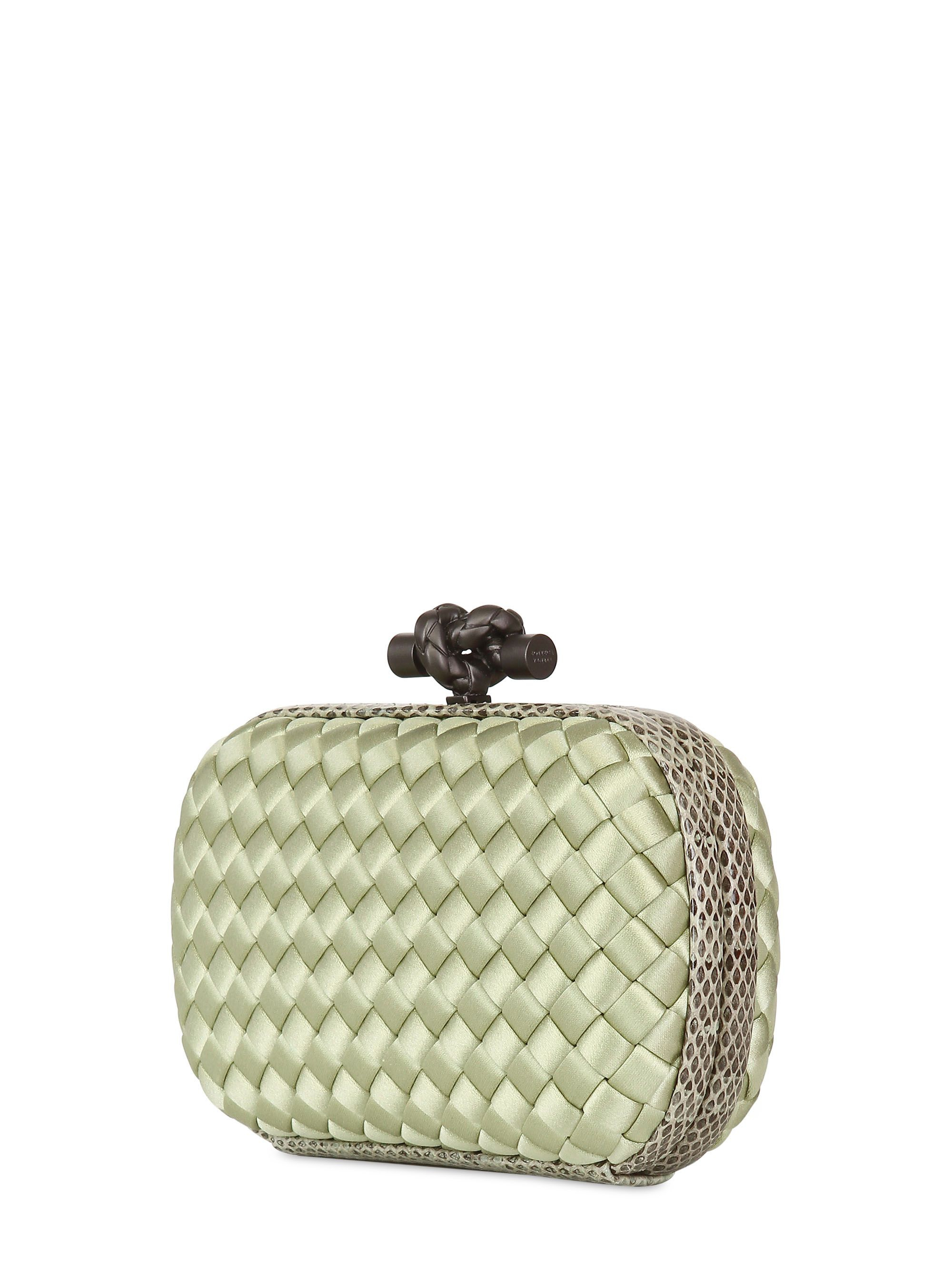 5c68938fd20 Lyst - Bottega Veneta Knot Intreccio Satin And Ayers Clutch in Green