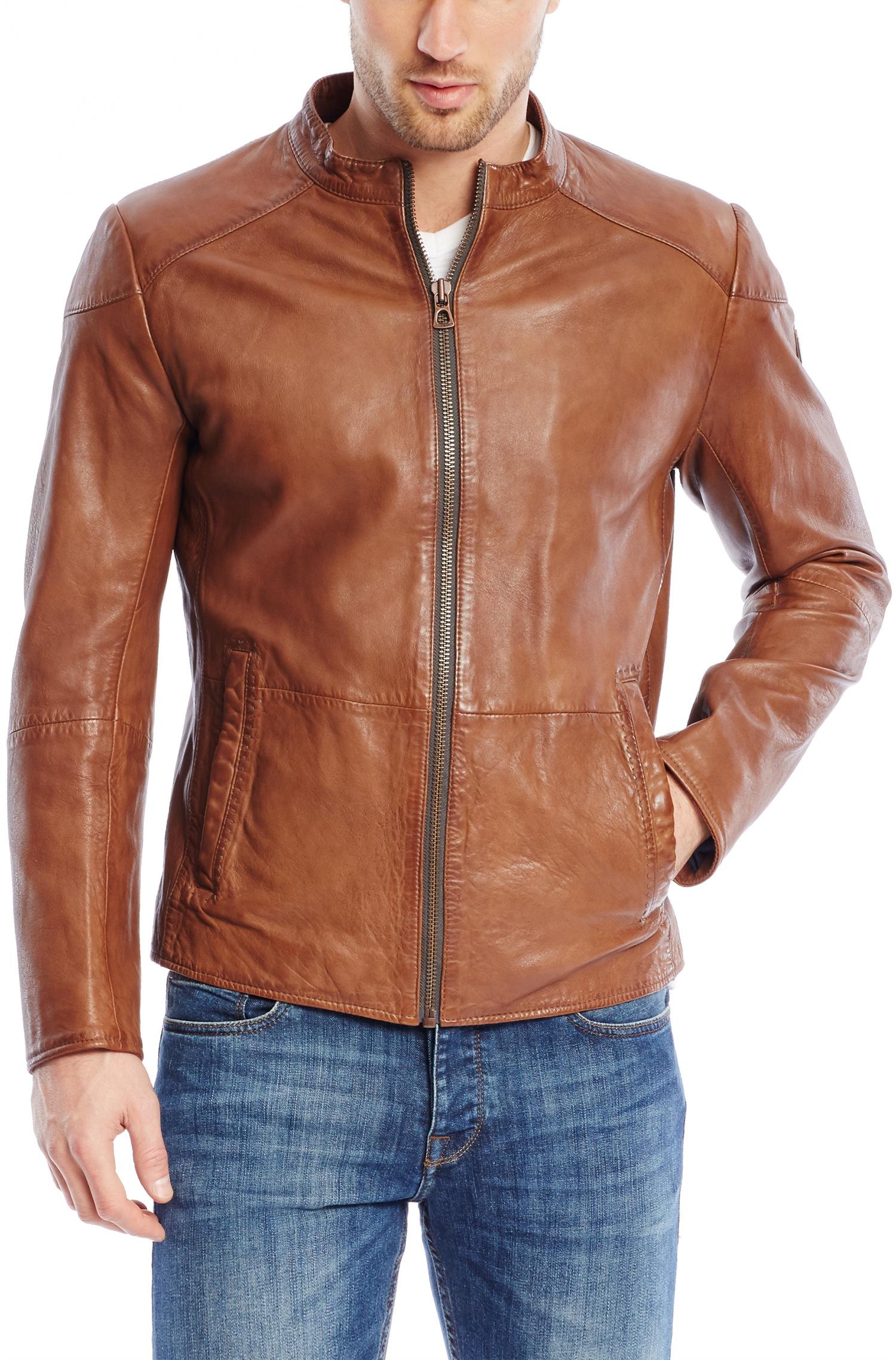 jacket men leather Hugo boss orange